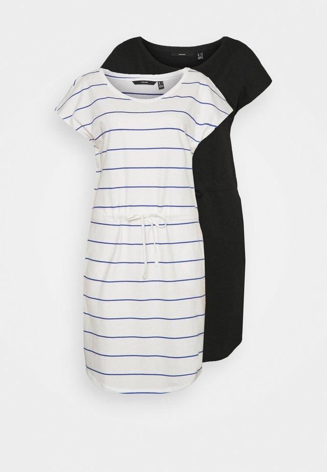 VMAPRIL SHORT DRESS 2 PACK - Vestito di maglina - black/snow white/dazzling blue