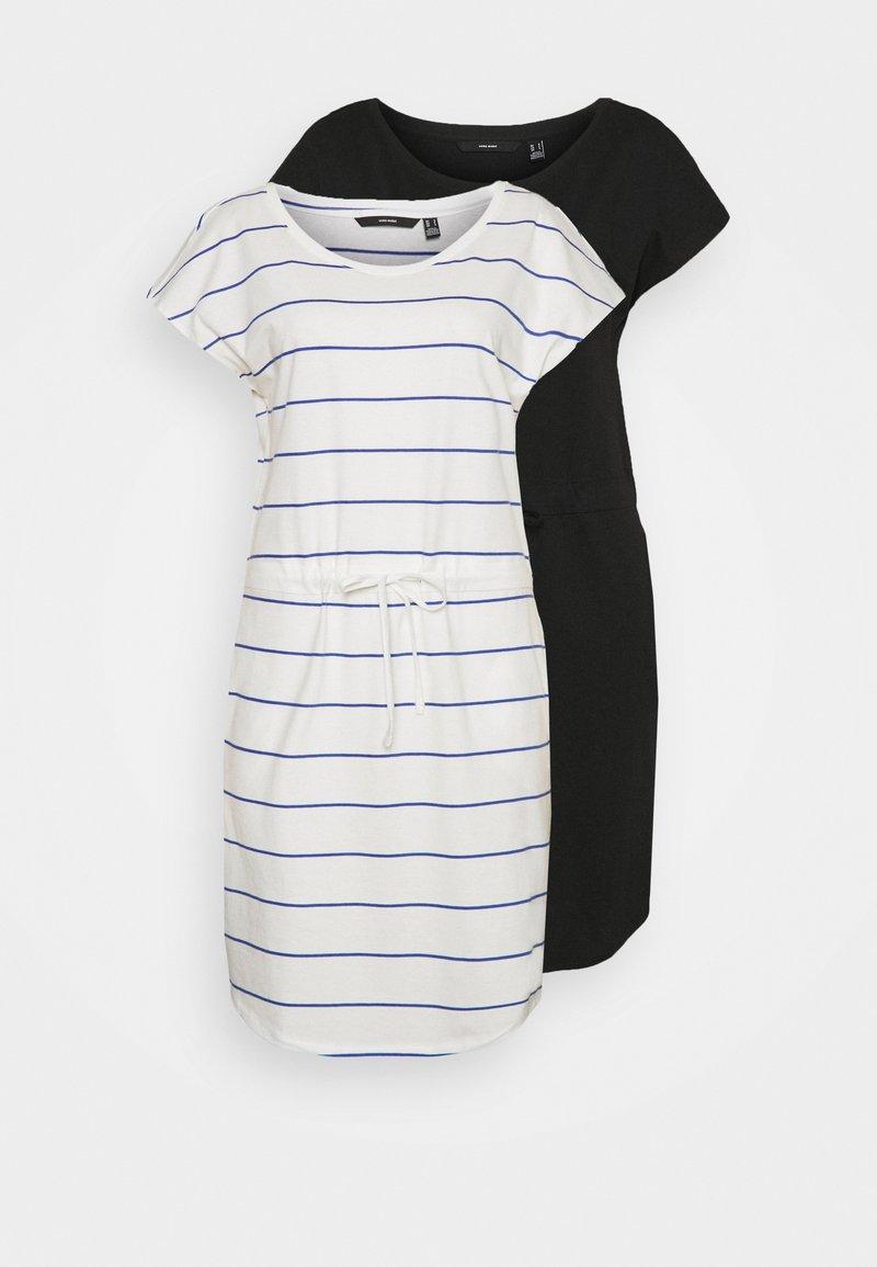 Vero Moda Tall - VMAPRIL SHORT DRESS 2 PACK - Jersey dress - black/snow white/dazzling blue