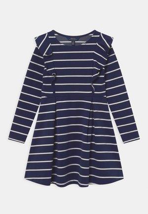 RUFFLE DAY DRESS - Jersey dress - hunter navy/nevis