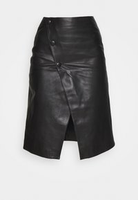 STUDIO ID - HOLLY WRAP ASYMMETRIC MIDI SKIRT - A-line skirt - black - 4