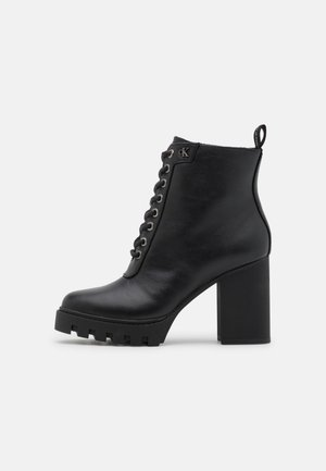 PLATFORM MID LACEUP BOOT  - Lace-up ankle boots - black