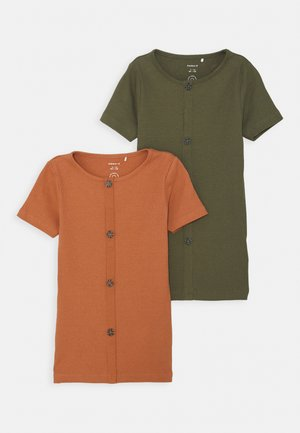 NKFRIBSA SLIM 2 PACK - T-shirt med print - ivy green/cedar wood