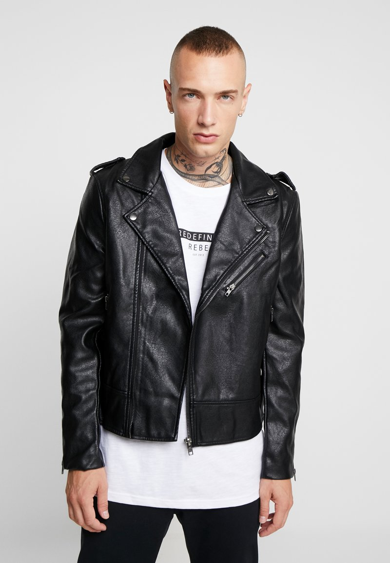 Cotton On - BIKER JACKET - Faux leather jacket - black