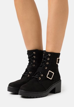 WIDE FIT MARLEY BUCKLE CLEAT - Lace-up ankle boots - black