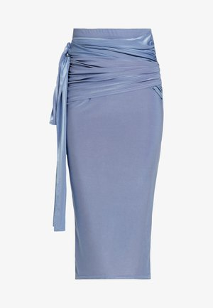 SLINKY KNOT FRONT SKIRT - Pencil skirt - blue