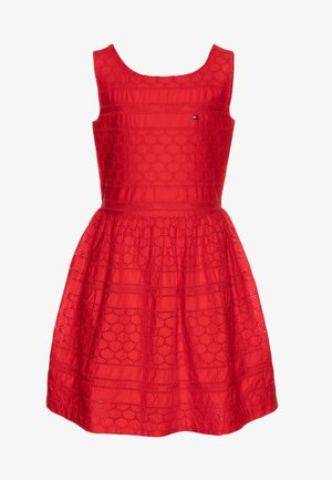 BRODERIE ANGLAISE DRESS  - Cocktail dress / Party dress - red