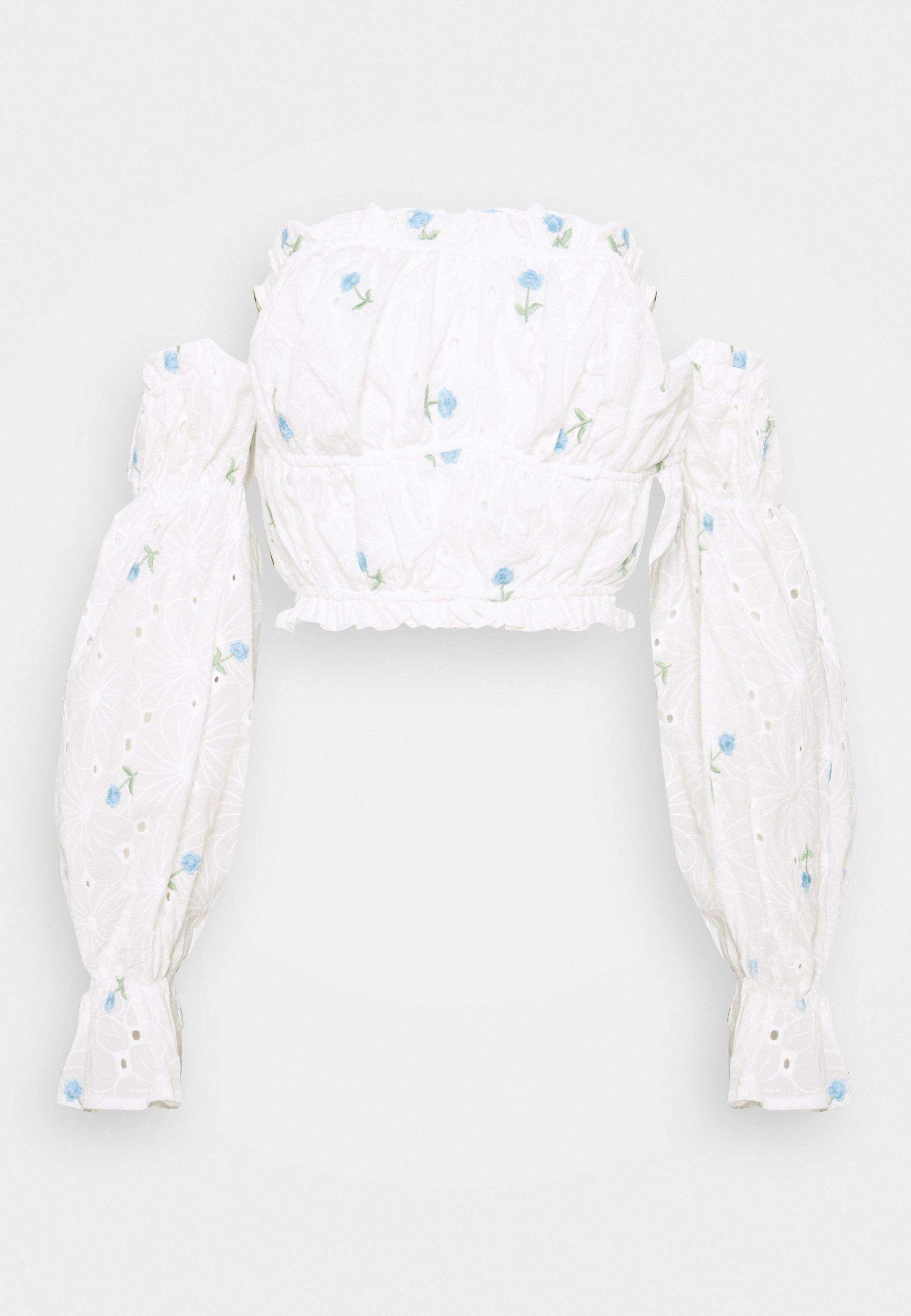 Women FLORAL BRODERIE BARDOT CROP  - Long sleeved top