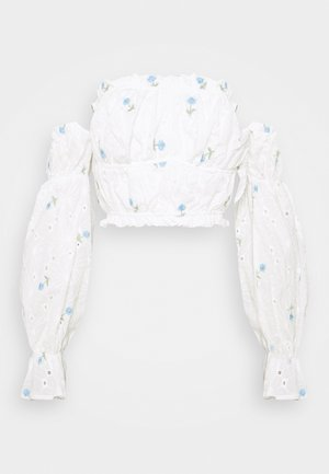 FLORAL BRODERIE BARDOT CROP  - Long sleeved top - white
