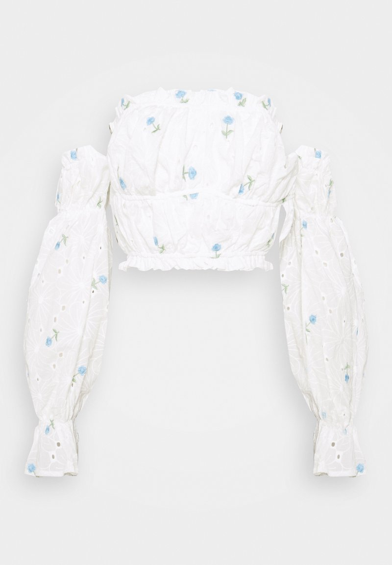 Missguided Tall - FLORAL BRODERIE BARDOT CROP  - Long sleeved top - white