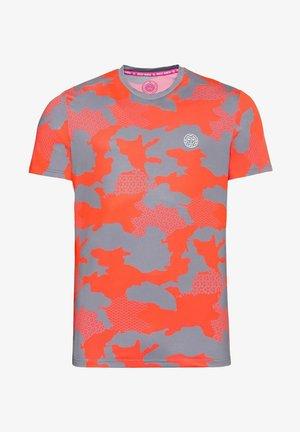 Print T-shirt - grau/rot