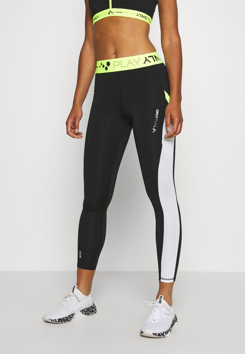 ONLY Play - ONPALIX 7/8 TRAINING - Leggings - black/white/safety yellow