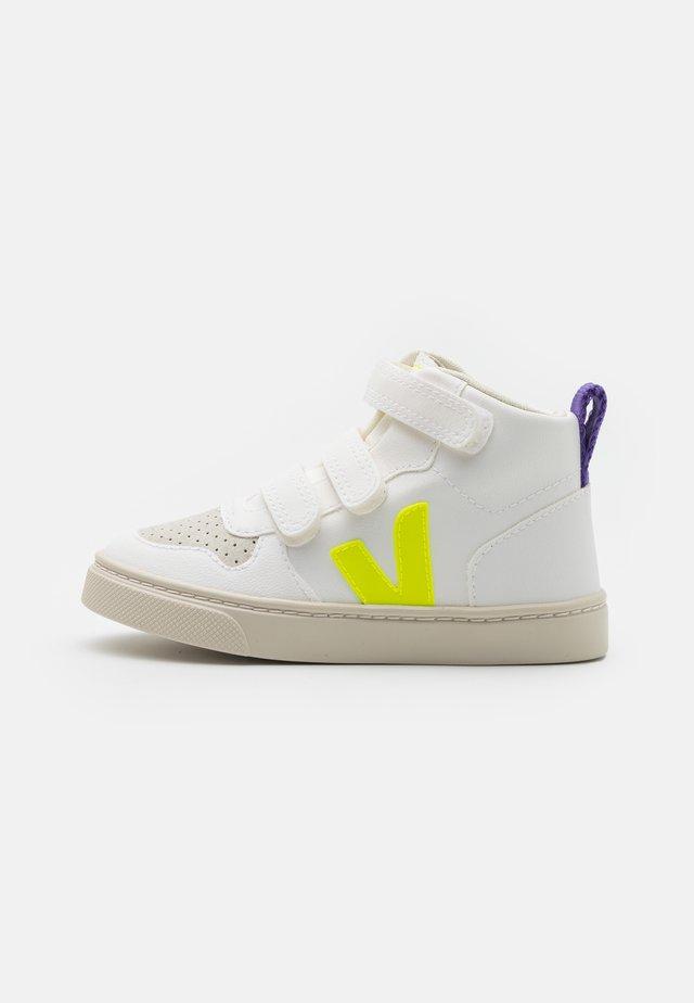 SMALL MID UNISEX - Baskets montantes - white jaune/fluo purple