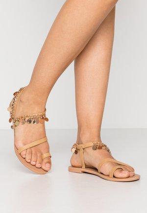 MARLEY - T-bar sandals - nude
