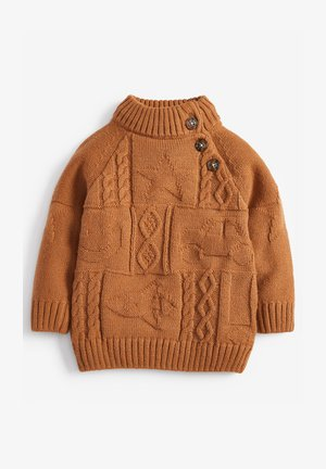 HIGH NECK CABLE PATTERN - Jumper - ochre