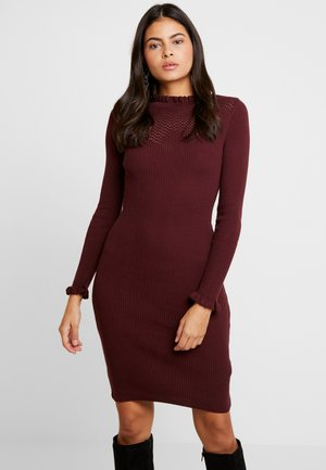 POINTEL RUFFLE DRESS - Shift dress - oxblood