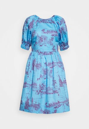 CUT OUT BACK DRESS - Denní šaty - toile blue/burgundy