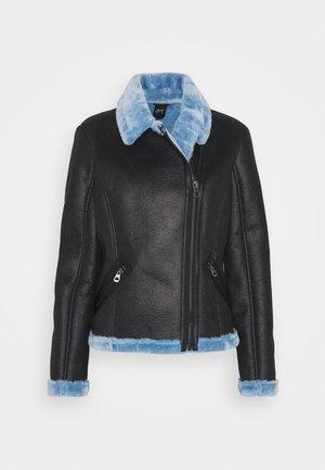 BRIGID  - Faux leather jacket - black/blue