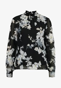 Dorothy Perkins - FLORAL SHIRRED NECK TOP - Bluser - black - 4