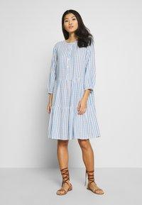 Culture - NOOR STRIPE DRESS - Shirt dress - mazarine blue - 0