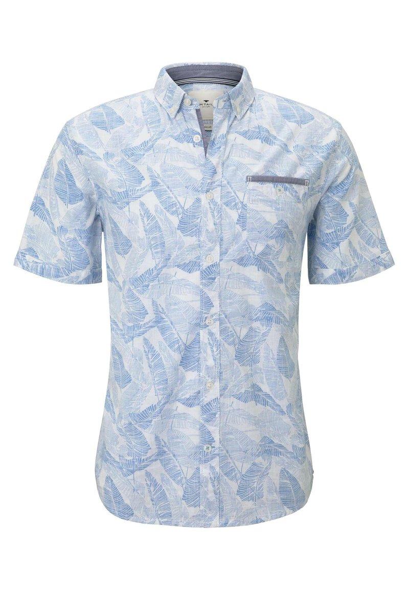 TOM TAILOR - RAY SLUB HOLIDAY PRINT - Shirt - white blue big leaves design