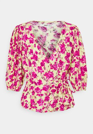 ONLPIO WRAP - Long sleeved top - pale green/fuchsia purple
