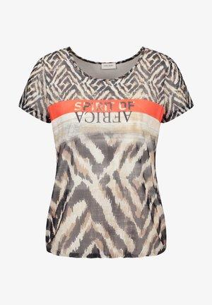Camiseta estampada - ecru schwarz sahara druck
