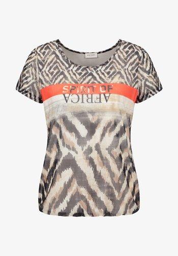 Print T-shirt - ecru schwarz sahara druck