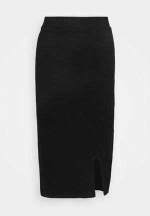 Knit midi skirt with slit - Pencil skirt - black