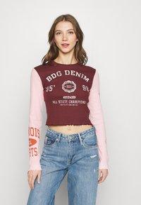BDG Urban Outfitters - COLLEGIATE LETTUCE TEE - Long sleeved top - burgundy - 0