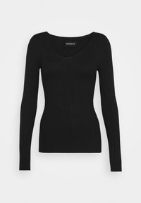 Even&Odd - BASIC- V-neck jumper - Jumper - black