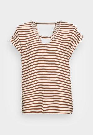 V NECK  - Print T-shirt - white brown stripe