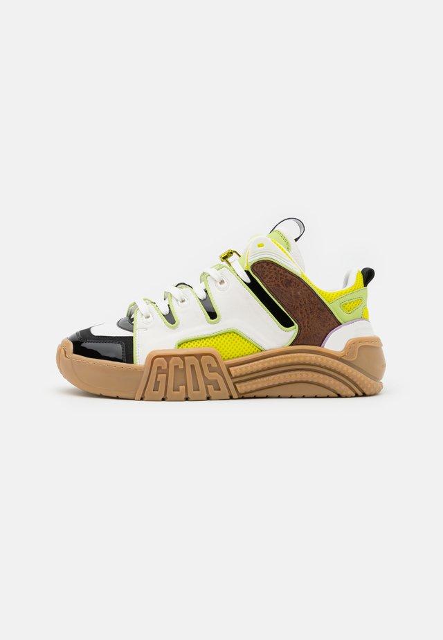 RETRO - Baskets basses - white/beige/neon yellow