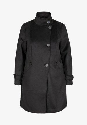 MED HØJ KRAVE OG ULD - Classic coat - black