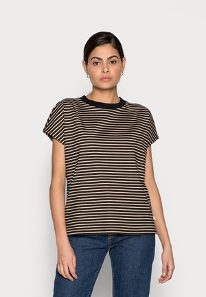 WITH CONTRAST NECK - T-shirt print - black/beige