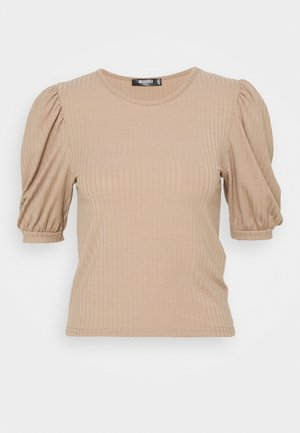 RIBBED PUFF SLEEVE SHORT SLEEVE - Basic T-shirt - sand
