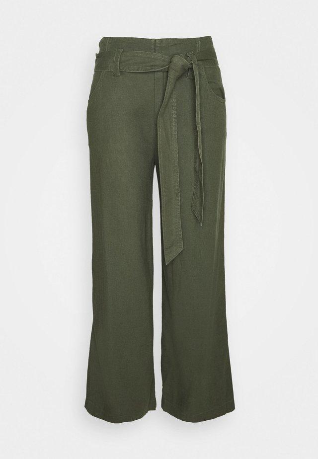 WIDE LEG SOLID - Pantaloni - khaki