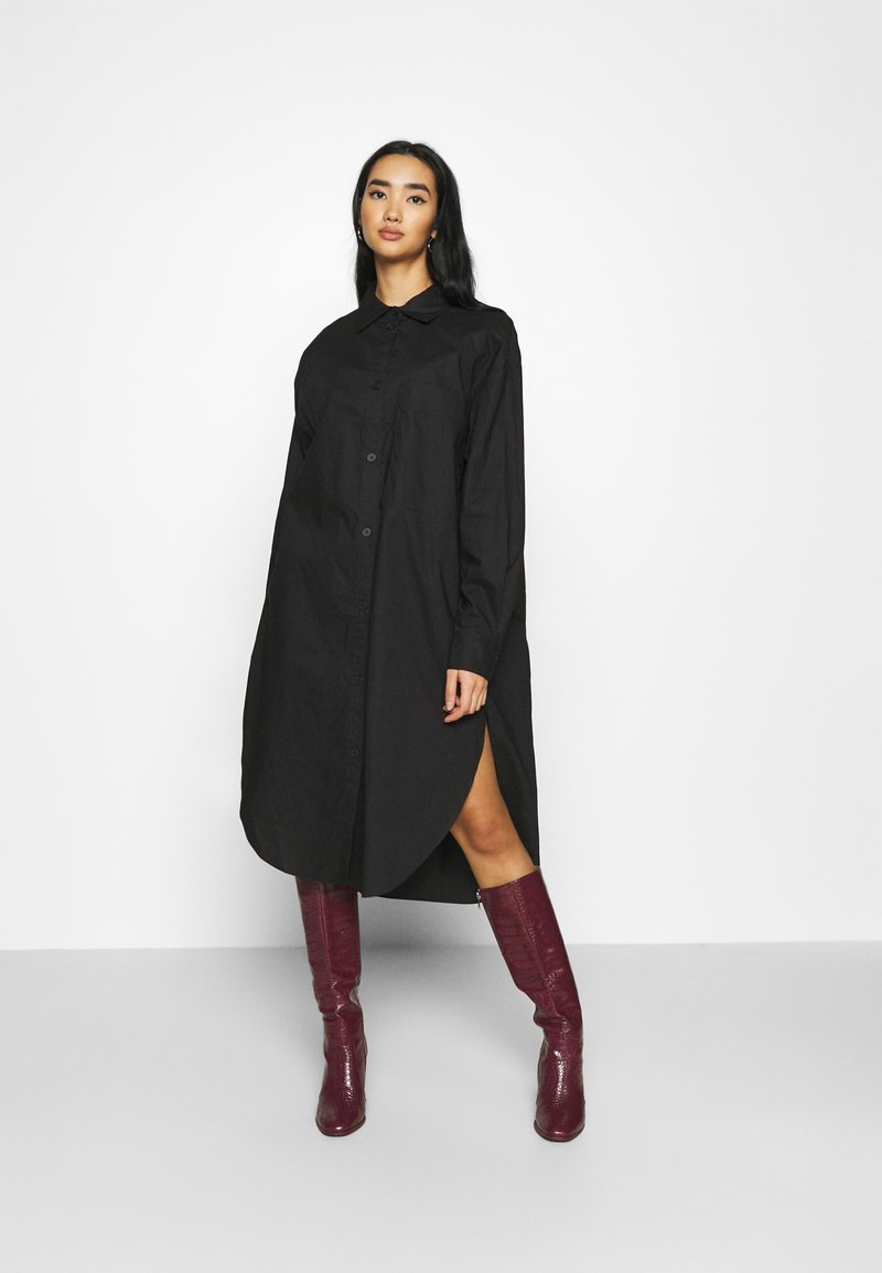Monki - CAROL DRESS - Shirt dress - black dark