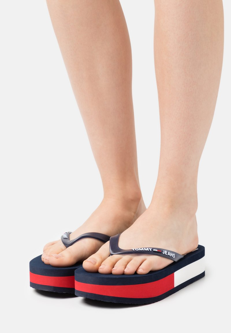 Tommy Jeans - THONG MID BEACH - T-bar sandals - twilight navy