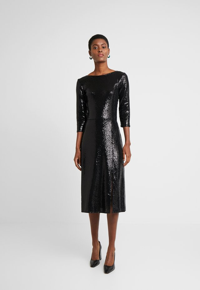 BLACK ON BLACK SEQUIN MIDI - Sukienka koktajlowa - black
