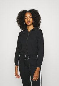 Even&Odd - CROPPED TIE HEM SWEAT JACKET - Bluza rozpinana - black - 0