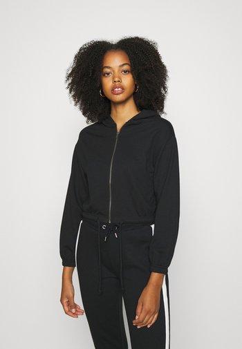CROPPED TIE HEM SWEAT JACKET - Zip-up hoodie - black