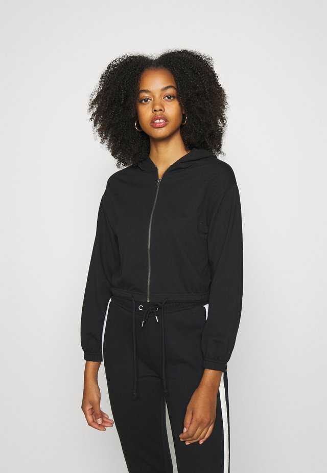 CROPPED TIE HEM SWEAT JACKET - Felpa aperta - black