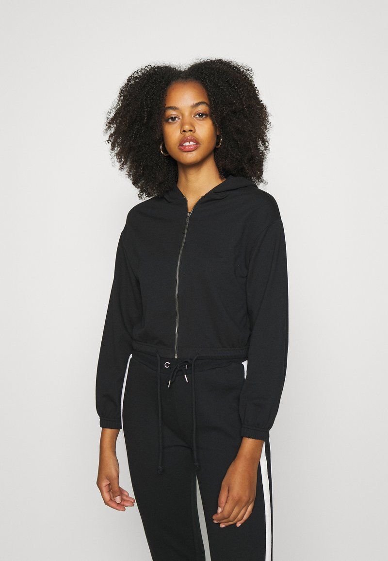 Even&Odd - CROPPED TIE HEM SWEAT JACKET - Bluza rozpinana - black