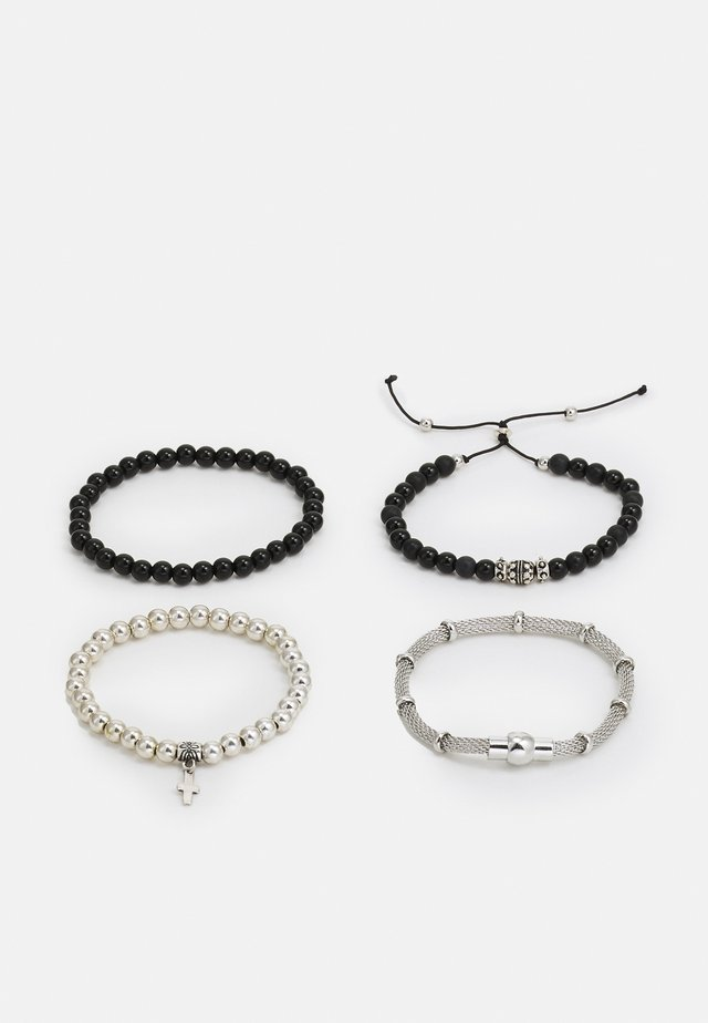 MIXED CHAIN AND BEAD 4 PACK - Náramek - black