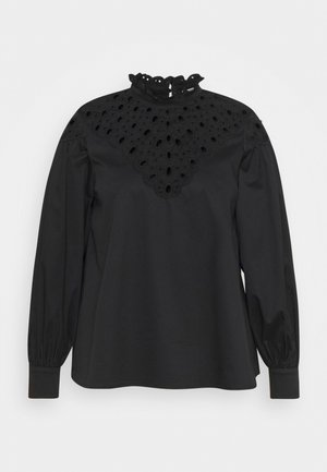 CUTWORK BLOUSE WITH PUFF LONG SLEEVES AND HIGH NECK - Bluser - black