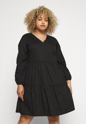 NMPINAR WRAP POPLIN DRESS - Korte jurk - black