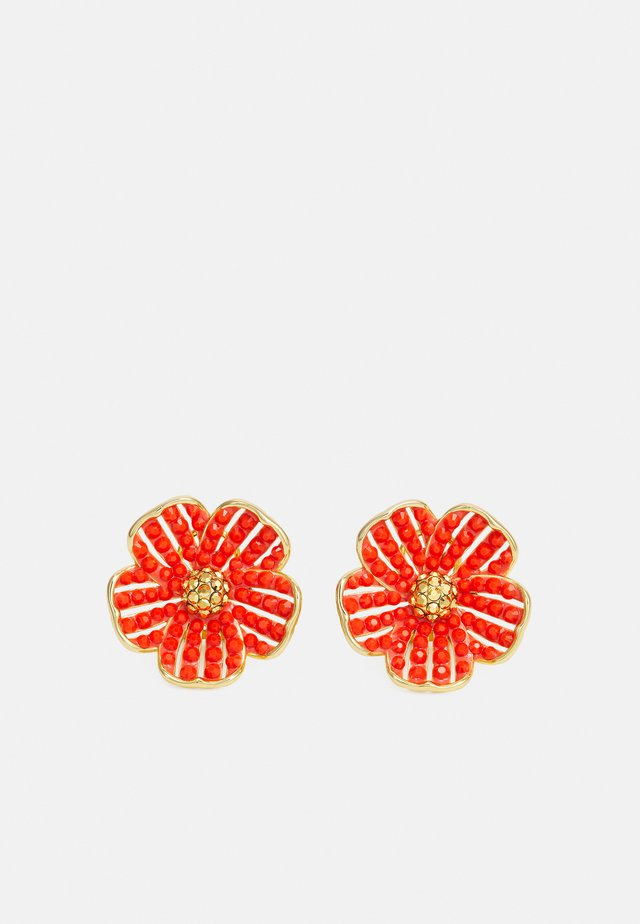 FLOWER STATEMENT STUDS - Örhänge - coral