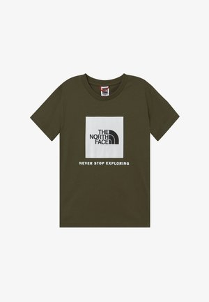 BOX TEE UNISEX - Triko s potiskem - new taupe green/white