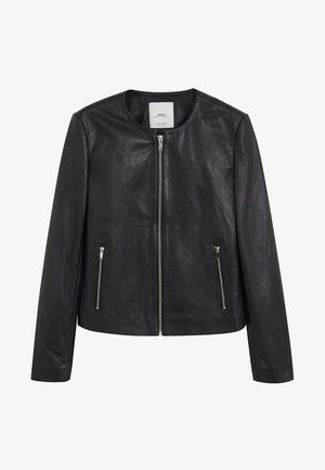BIKERJACKE AUS LEDER - Leather jacket - schwarz