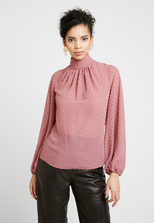 GATHER NECK BLOUSE WITH TIE - Blouse - blush